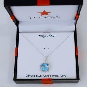 MACY'S~blue & white topaz~PENDANT NECKLACE~SILVER